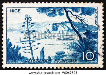 FRANCE - CIRCA 1955: a stamp printed in the France shows Nice, France, circa 1955