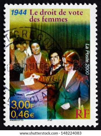 FRANCE - CIRCA 2000: a stamp printed in the France shows Women's Suffrage, Right of Women to vote, 1944, circa 2000
