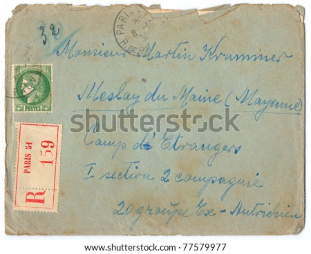 FRANCE - CIRCA 1939: A vintage used old-fashioned French envelope (campaign poster) with stamp, series, circa 1939