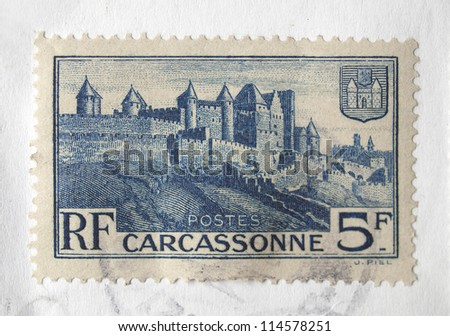 FRANCE - CIRCA 1932: French stamp depicting the medieval town of Carcassonne, with postage meter on, France, circa 1932