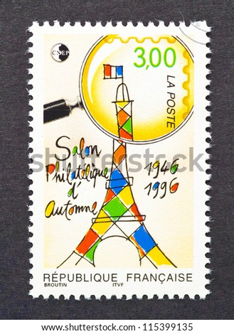 FRANCE - CIRCA 1996: postage stamp printed in France showing an image of Eiffel Tower celebrating a philatelic exhibition, circa 1996.