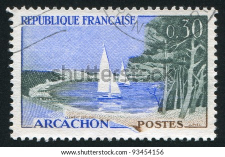 FRANCE - CIRCA 1961: stamp printed by France, shows beach and sailboats in Arcachon, circa 1961