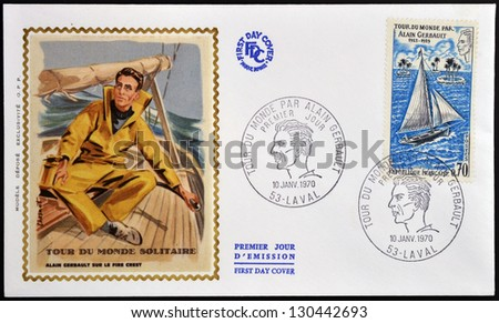 FRANCE - CIRCA 1970: Stamp printed in France dedicated to Alain Gerbault, who made a circumnavigation of the world as a single-handed sailor, circa 1970