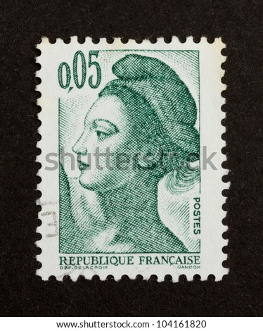 FRANCE - CIRCA 1980: Stamp printed in France shows an important national icon (woman), circa 1980