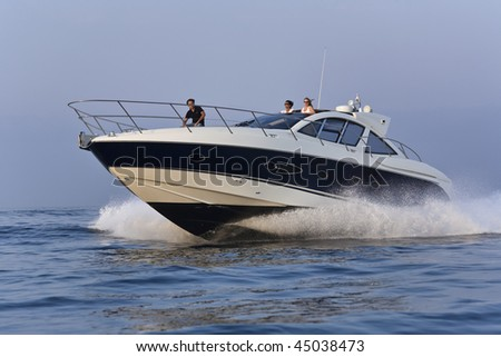 stock photo : France, Corsica, Ajaccio, luxury yacht, Azimut Atlantis 50'