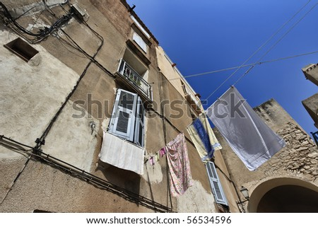 France, Corsica, Bonifacio, buildings in the old part of the town