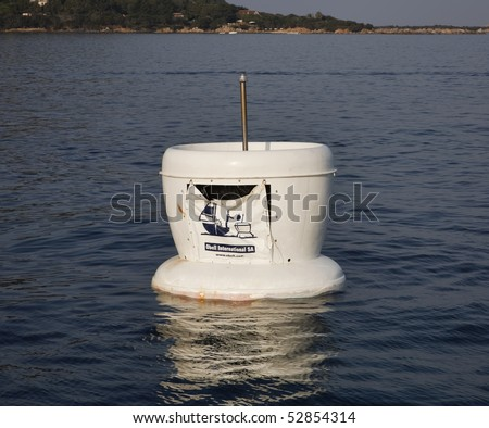 France, Corsica, Girolata Marine National Park, sea garbage container for boats