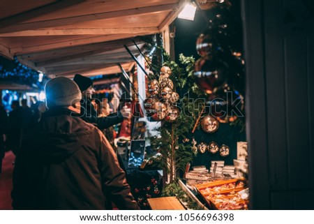 FRANCE - DECEMBER 15:  Christmas ornaments decorating a store at the market in Defense, DECEMBER 15, 2017 in Paris, France