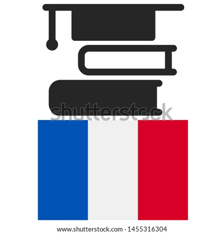 France Education - Illustration, Icon, Logo, Clip Art or Image for Cultural, Educational or State Events. Celebrating Scholarship Award on Summer. High Quality Education country