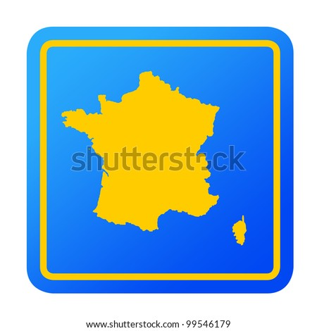 France European button isolated on a white background with clipping path.