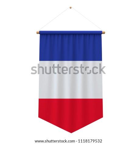 France flag cloth hanging banner. 3D Rendering