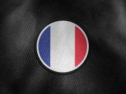 France flag isolated on black with clipping path. flag symbols of France. France flag frame with empty space for your text.