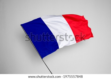 France flag isolated on white background with clipping path. close up waving flag of France. flag symbols of France. France flag frame with empty space for your text.