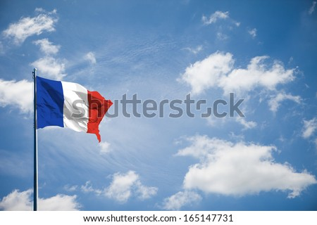 France flag on blue sky