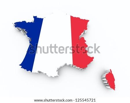 france flag on 3d map