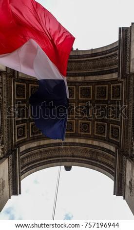 france flag under arch de...