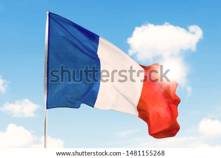 France flag waving in the air on a flagpole with sunlight background #1481155268