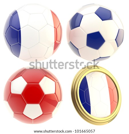 France football team set of four soccer ball attributes isolated on white