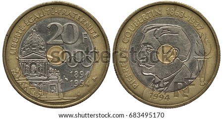 France French bimetallic coin 20 twenty francs 1994, Subject 100 years of Olympic movement, Olympic rings right to building with dome, dates below, Pierre de Coubertin left, torch,
