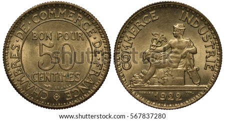 France, French coin 50 fifty centime 1921, inscription in French French Chamber of Commerce, seated Mercury holding caduceus and cithara, date below,