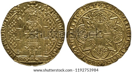 France French golden coin 1 one franc 1365, ruler Charles V, figure standing at some porch holding sword and scepter, numerous lilies flank, stylized cross with crowns and lilies between rays,  #1192753984