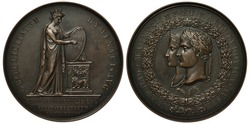 France French medal 1810, marriage of Napoleon to Maria Louisa of Austria, woman in antique clothes holding shield near altar, conjoined heads of Napoleon and Maria Louisa within circular wreath,