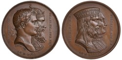 France French medal 1806, subject Alliance with Saxony, conjoined heads of Napoleon Bonaparte and Charlemagne, conjoined heads of Vitikind and Friedrich,