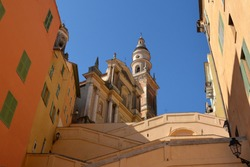 France, french riviera, Menton, the stair ramp to access the Basilica Saint Michel d'Archange in baroque style, which is classified as a historic monument.
