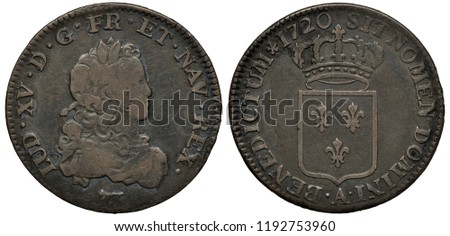 France French silver coin 20 twenty sols 1720, young bust of King Louis XV right, crowned shield with three lilies,