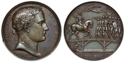 France French 19th century bronze medal, laureate head right, allegorical scene of Emperor Napoleon Bonaparte addressing Second Corps of the Great Army on bridge across river Lech, Nick above,
