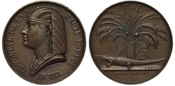 France French 19th century medal, subject Conquering Upper Egypt by Napoleon Bonaparte, Napoleon as Pharaoh left, crocodile chained to a palm tree,