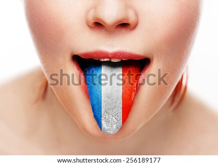 France language tongue woman face with open mouth Сток-фото ©