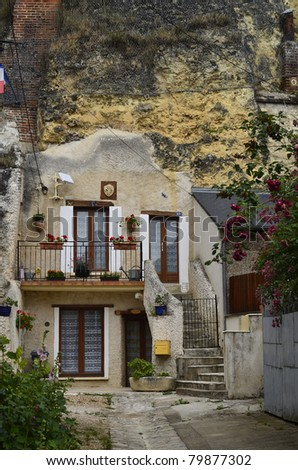 France, Loire Valley, Amboise, home built in rocks