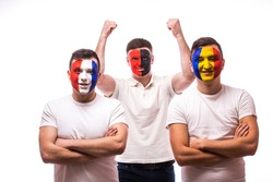 France - lose, Albania - win, Romania â?? lose. Football fans of national teams with crossed hand look at camera on white background. European 2016 football fans concept.