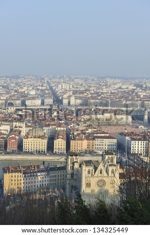 France, Lyon, city panoramic view in winter