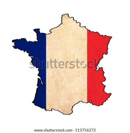France map on France flag drawing ,grunge and retro flag series