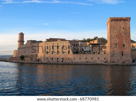 France Marseilles 17th Century Fort Saint-Jean incorporating the Commandry of the Knights Hospitaller of Saint John at harbor entrance