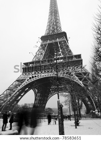 France - Paris Eiffel tower under snow