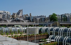France, Paris, Les Halles place. The old view of a shopping mall built on the place of middle-age marketplace, now this area is fully reconstructed.