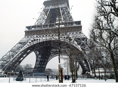 France Paris trocadero under snow
