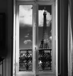 France - Paris - Window on Eiffel tower and Seine river