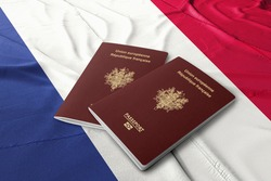 France passport on the French flag ,French passport  is an identity document issued to French citizens.