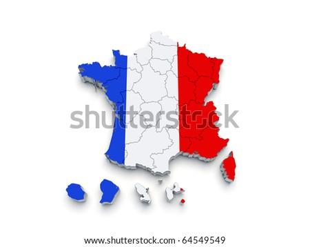 France Regional map 3D on white
