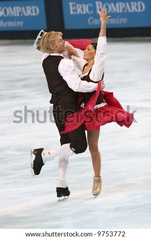 France's ice dancers Isabelle Delobel and Olivier Schoenfelder perform original dance during the ISU Grand Prix in Paris. This is pairs original dance as of season 2007/2008.