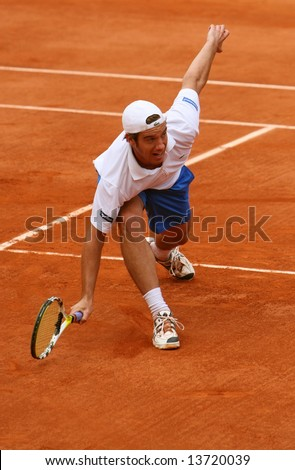France's top tennis player Richard Gasquet plays at French Open (Roland Garros). Paris, France, 2008