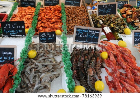 France, stall of seafood at the Trouville fish market in Normandy