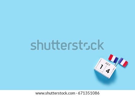 France. 14 th of July. Happy Bastille Day.Copy space,minimal style