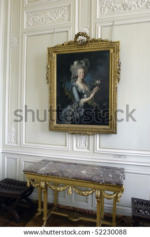 France, Versailles palace, a picture of Marie Antoinette in Petit Trianon