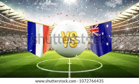 France vs Australia. Soccer concept. White soccer ball with the flag in the stadium, 2018. 3d render