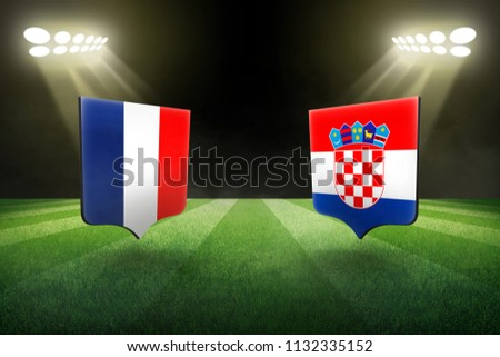 France vs Croatia, football match in the stadium at night concept